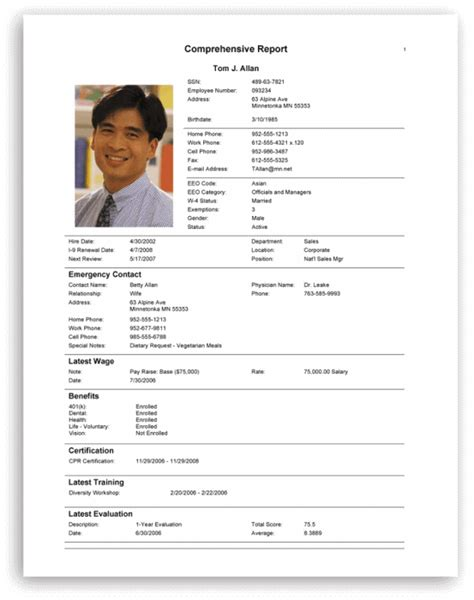 Human Resources Software Manage Employee Information Employee Personnel File Template