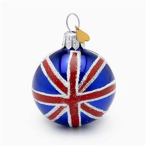 union jack glass christmas decoration by bombki