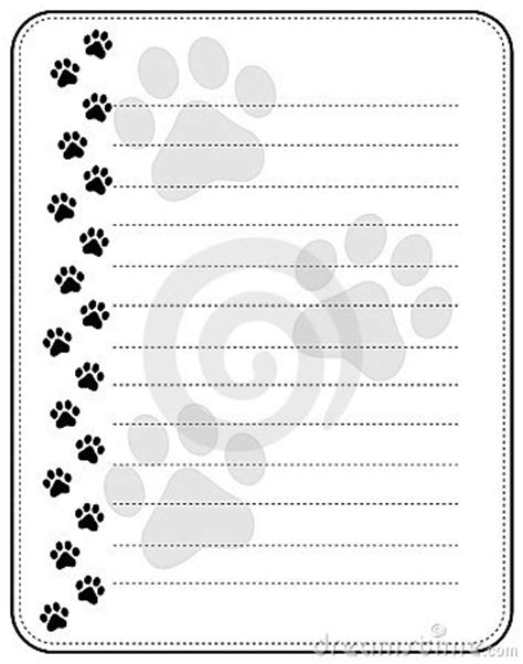 printable writing paper with dogs paw prints border stock photos image 17179343