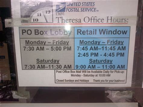 Post Office Hours - services town of theresa ny