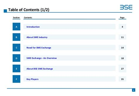 Bse Sme Exchange Business Ppt Table Of Content In Powerpoint
