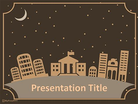 free city at night powerpoint template download free