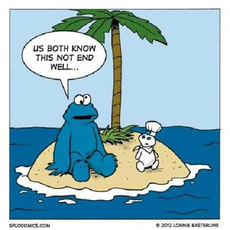 Pillsbury Dough Boy Meme - cookie monster stranded with pillsbury dough boy on a
