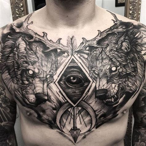 viking tattoo chest piece awesome chest piece by tattoo artist fred 227 o oliveira
