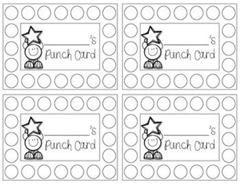 punch card template for students 17 best images about punch cards on activities