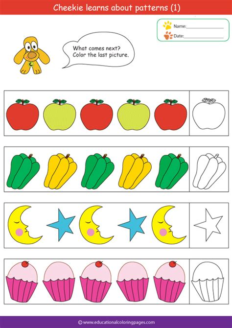 pattern kindergarten video pattern worksheets for preschool images