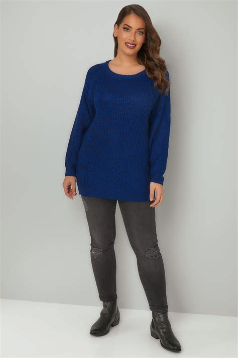 my keeps attacking my other for no reason blue black chunky knit jumper with laced sleeves plus size 16 to 36