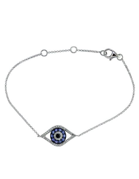 Eyecandy Blue Sapphire Normal Only effy sapphire and 14k white gold evil eye bracelet in blue lyst