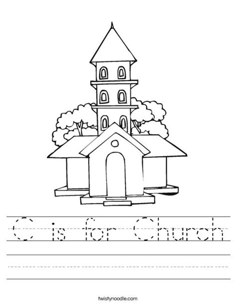 printable activity sheets for church c is for church worksheet twisty noodle
