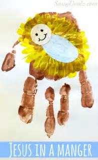 Diy baby jesus in a manger handprint craft for kids crafty morning