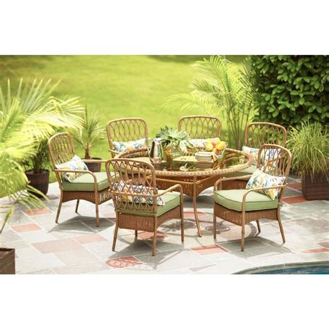 7pc Patio Dining Set with Hton Bay Clairborne 7 Patio Dining Set With Moss Cushion D11079 7pc The Home Depot