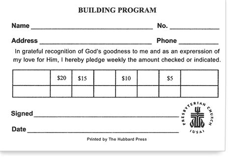 pin church pledge card template exle on