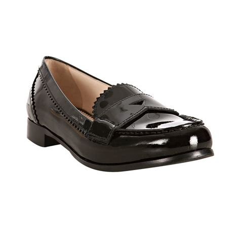 black patent leather loafers prada black patent leather pinked loafers in black