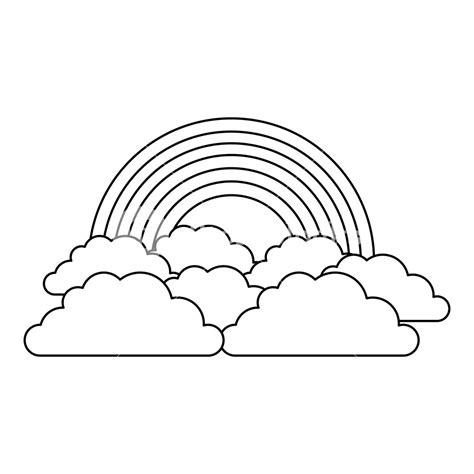 rainbow and cloud in the sky vector illustration outline ... Rainbow Clipart Outline