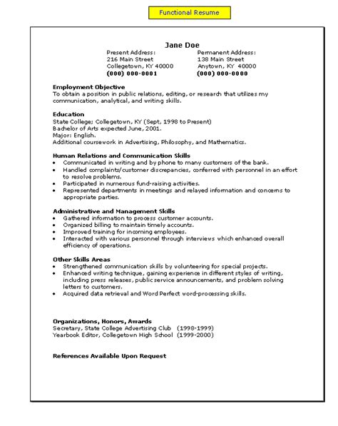 Functional Resume by A Functional Resume My Easy A S To Z S Resume Functional Resume And Layout
