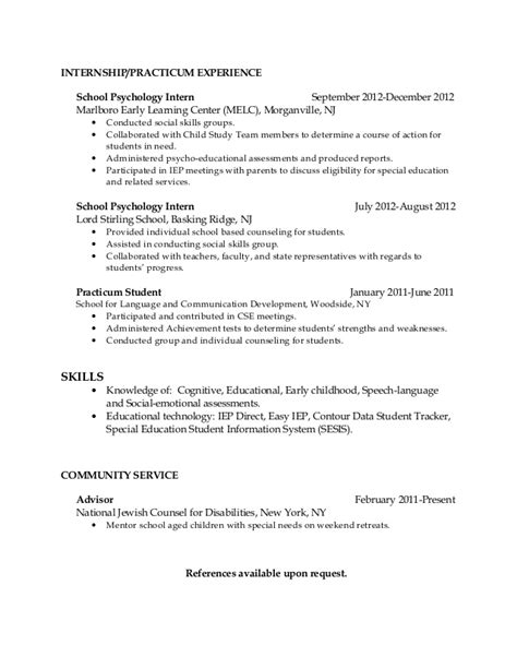 Psychologist Resume by School Psychologist Resume Resume Ideas