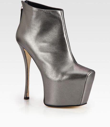 Metallic Giuseppe Zanotti Boot by Giuseppe Zanotti Metallic Leather Platform Ankle Boots In