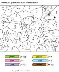 math color by number color by subtracting numbers worksheet 4 turtle diary