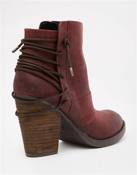wine boots steve madden raglyn wine leather lace back heeled ankle