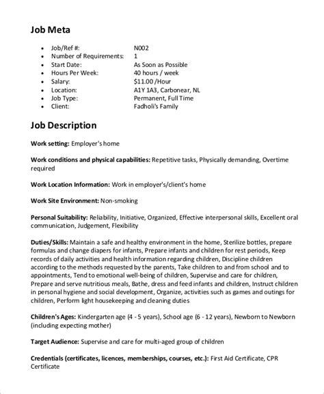 sle nanny description 8 exles in word pdf