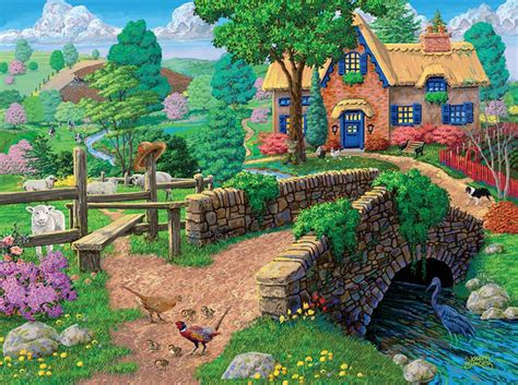 fence steps cottage  pc ceaco jigsaw puzzle