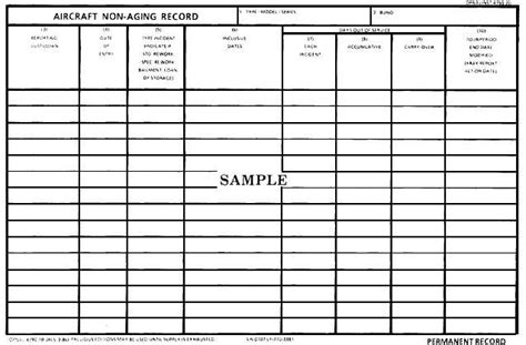 Aircraft Non Aging Record Opnav 4790 18 Aircraft Logbook Entry Template