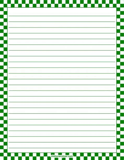 free printable stationery paper without lines printable green and white checkered stationery and writing