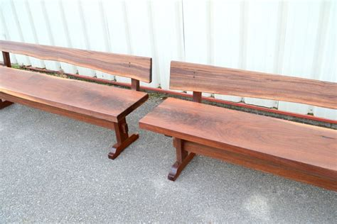 custom made benches custom made walnut benches with backs by sandy creek woodworks custommade com