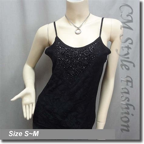 Lace Back Camisole Top sequin beaded lace gossamer camisole top black