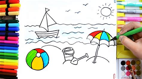 how to draw a nice boat draw color paint summer fun ball boat bucket umbrella