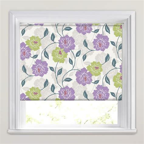 flower design roller blinds green violet purple white large flowers patterned