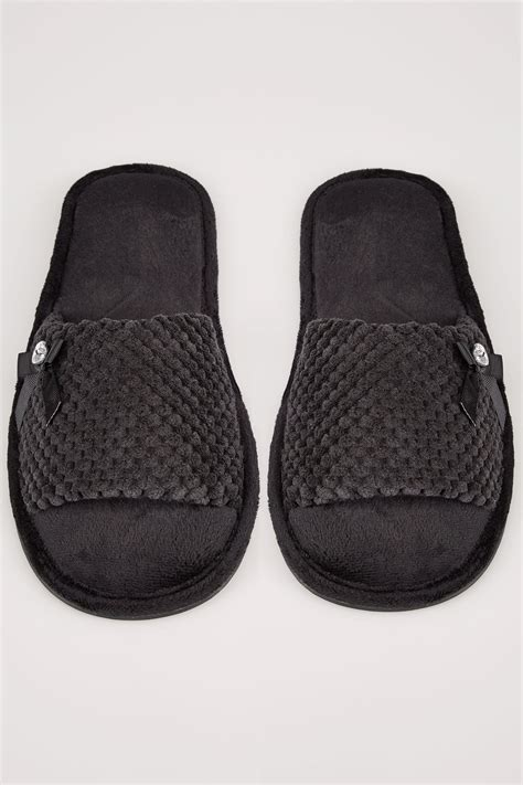 discount vouchers next uk black slider memory foam slippers with bow diamante
