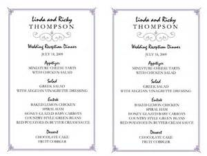 Menu Templates For Weddings by Wedding Menu Template 5 Plus Printable Designs