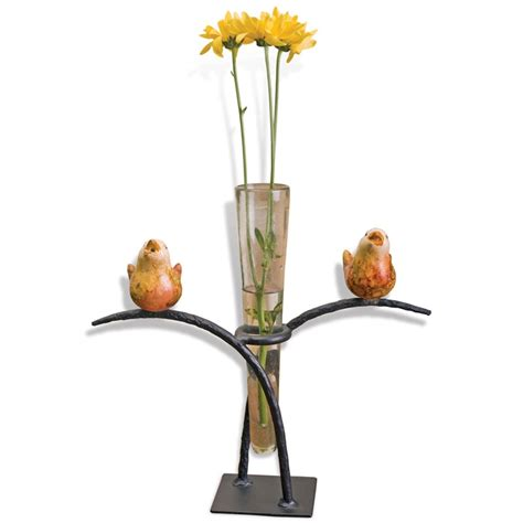 pictured here is the two birds glass vase with iron stand