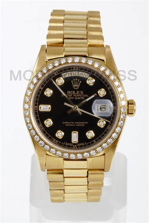 Rolex Black Gold rolex mens day date president 18k gold black