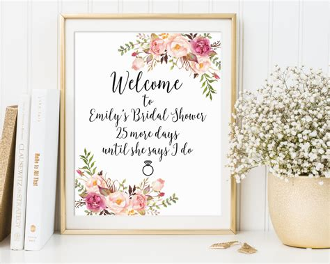 free printable wedding shower signs welcome sign welcome bridal shower sign by thesunshinegarden