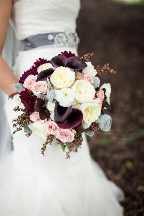 plum purple wedding color ideas deer pearl flowers