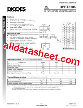 datasheet of diode dpbt8105 7 datasheet pdf diodes incorporated