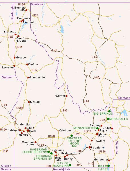 idaho on map map of idaho