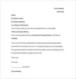 Resignation Letter Free Template by Notice Of Resignation 11 Free Sles Exles Format