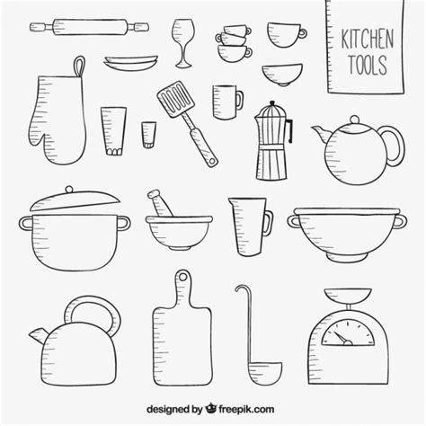 herramientas de cocina herramientas esbozadas de cocina descargar vectores gratis