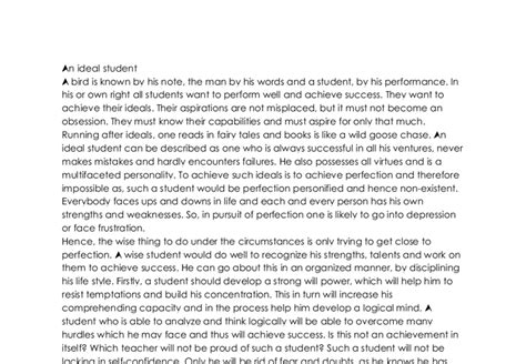 Ideal Essay by An Ideal Student Gcse Marked By Teachers