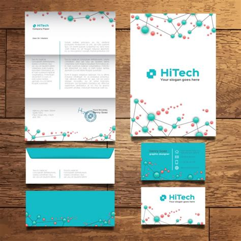 stationery layout vector modern tech stationery design vector free download