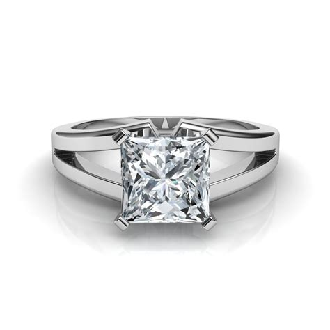 Solitaire Engagement Ring by Split Shank Princess Cut Solitaire Engagement Ring