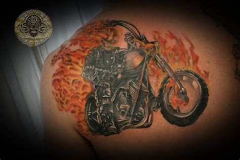ghost rider tattoo fin by 2face tattoo on deviantart