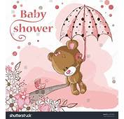 Baby Shower Card Girl Bear Stock Vector 140073661