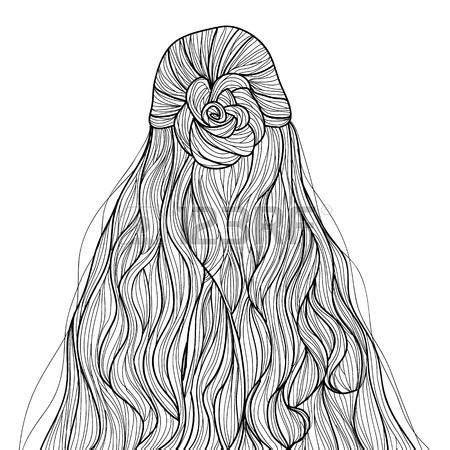 coloring pages hair drawn braid coloring hair pencil and in color drawn