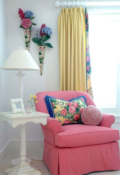 serene sanibel cottage style home  blue yellow   pink  florals   mix beach