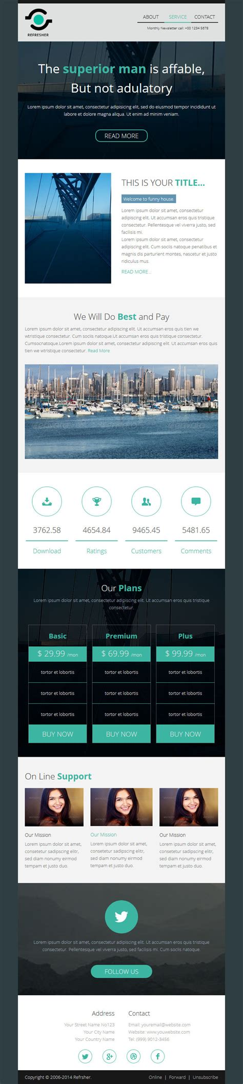 refresher responsive email template with builder by