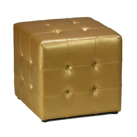 gold ottomans cortesi home gold vinyl tufted cube ottoman 15384365